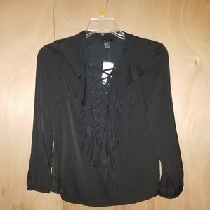 Corset lace up ruffle blouse NWT